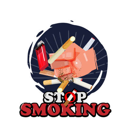 hand punching cigarette to avoid smoking. stop smoking concept - vector illustration