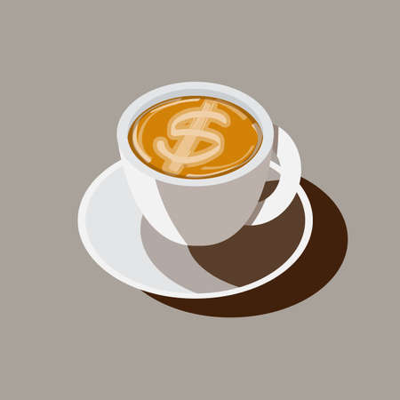 coffee cup with money icon as latte art. idea or inspire from coffee make money - vector illustration
