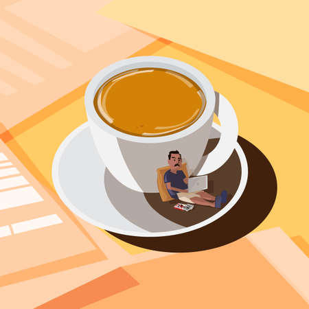 coffee cup with working man in shadow on table. freelacener work at home or workspace concept - vector illustration