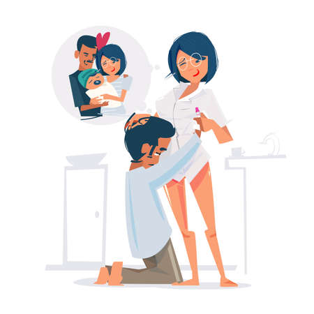 man hug his wife when she tell him she are Pregnant. Young couple is waiting their baby - vector illustration