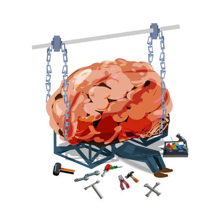 engineer fixing the brain. healthcare concept - vector illustration