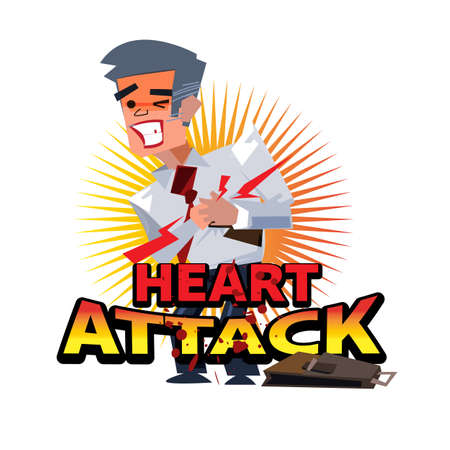 heart attack people with logotype - vector illustration Illustration
