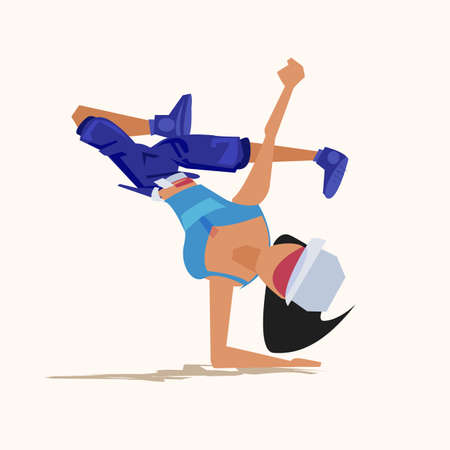 hiphop girl exercise - vector illustration Illustration