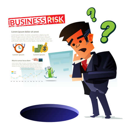 confuse businessman with hole. thinking and worry about big trouble concept - vector illustration Illustration