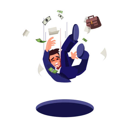 businessman falling into pitfall. business trap concept - vector illustration