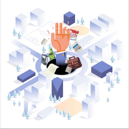 Human hand with office element in big hole on the center of big city. busy man or hard working. isometric style - vector illustration
