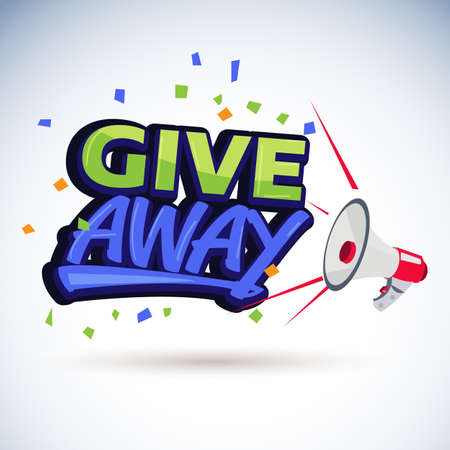 megafono che grida con Give away -illustrazione vettoriale Vettoriali