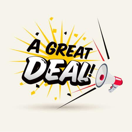 """mégaphone avec la typographie """"A Great Deal"""". concept de promotion - illustration vectorielle"""
