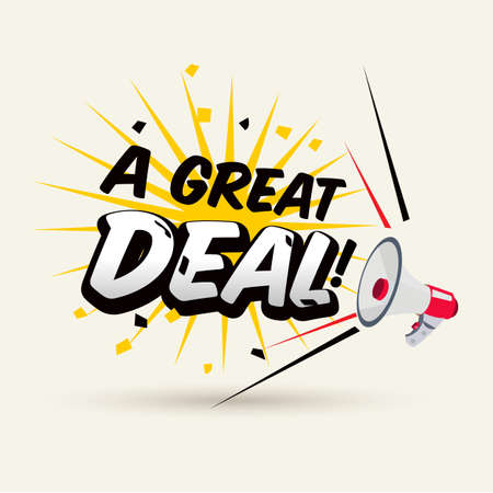 "megaphone with ""A Great Deal"" typographic. promotion concept - vector illustration"
