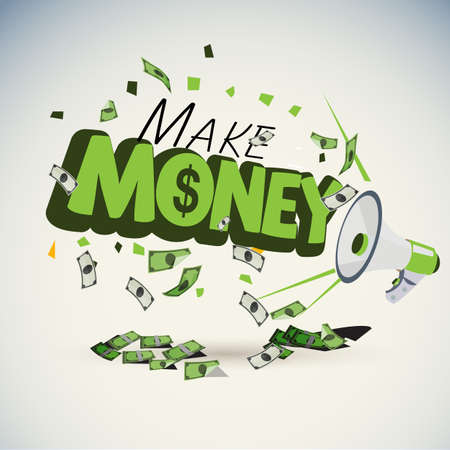 megaphone with  Make money  typographic - vector illustration - vector illustration
