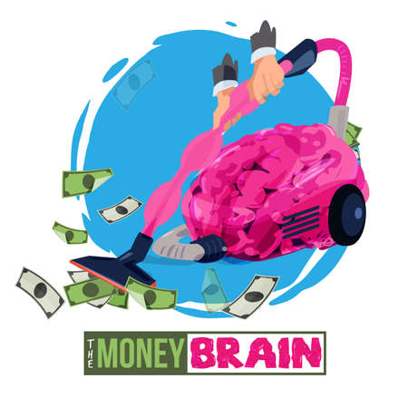 man using brain as vacuum to suck up the money. money brain - vector illustration