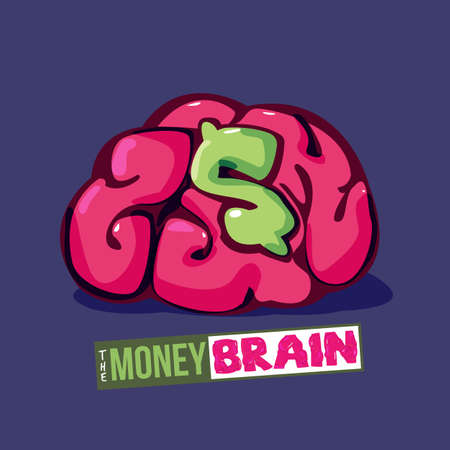 human brain with money icon in cereblum - vector illustration 일러스트