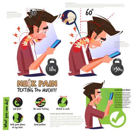 dolor de cuello por usar un teléfono inteligente o enviar mensajes de texto demasiado. infografía. Posición correcta e incorrecta para una buena salud - ilustración vectorial
