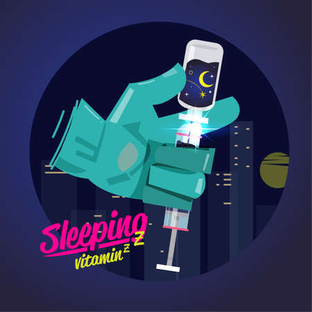 Better sleep concept. sleep vitamin in syringe - vector illustration
