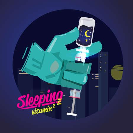 Meilleur concept de sommeil. Vitamine du sommeil en seringue - vector illustration Vecteurs