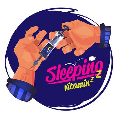 man using the syring of sleep. sleep therapy concept. better sleep. sleep vitamin - vector illustration Illustration