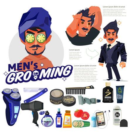 Pflegekonzept für Männer. Gut aussehender Pfleger in Maske kommt mit Hautpflege und Werkzeug. Schritt für Schritt zum schönen Aussehen. Männertrend - Vektorillustration Vektorgrafik