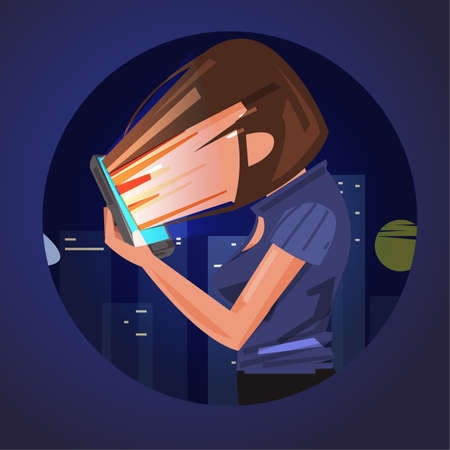Smartphone addiction. face of women absorbing into smartphone. sleepless or addiction by social media - vector illustration