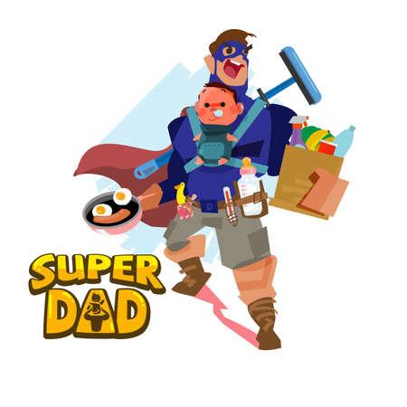 Super Vater. Held Konzept. Charakterdesign - Vektorillustration