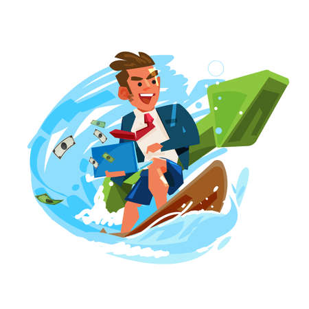 businessman surfing and working on wave with green positive graph. successful business or working concept - vector illustration 矢量图片