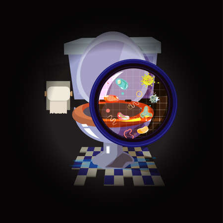 schmutzige Toilettenschüssel mit Bakterien oder Viren - Vektorillustration Vektorgrafik