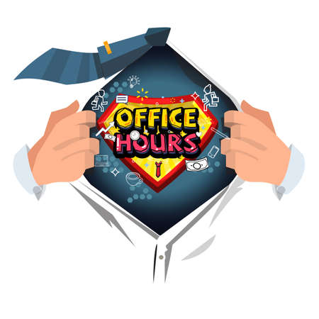 businessman open shirt to show Office Hours -vector illustration
