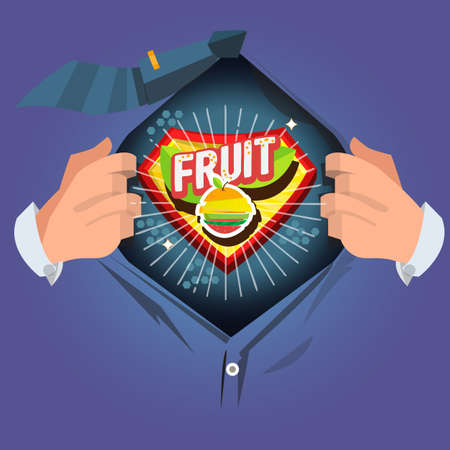 man open shirt to show Fruit  - vector illustration