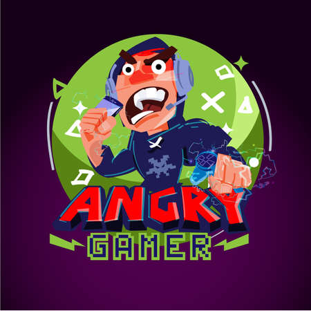 Angry gamer logo. gamer logo concept - vector illustration Illustration