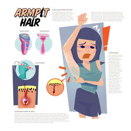 Female with darken armpit hair. how to removal armpit hair concept - vector illustration Stock Illustratie