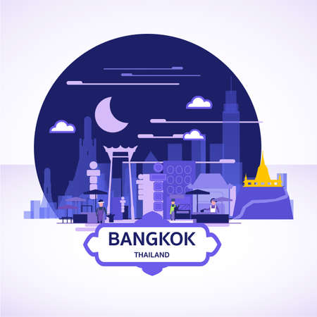 Bangkok landscape icon. street food in the town concept - vector illustration