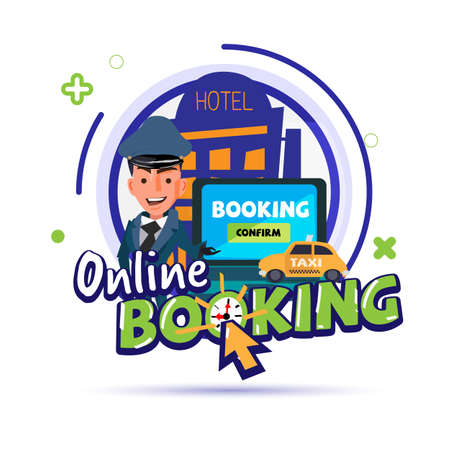 booking online concept icon. travel or ticket– - vector illustration 向量圖像