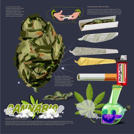 Cannabis o Marijuana Buds giunto crudo. infografica bong con logotipo - illustrazione vettoriale
