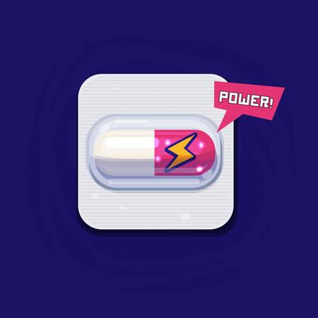 Medicine For Men Power, capsule pill of power - vector illustration