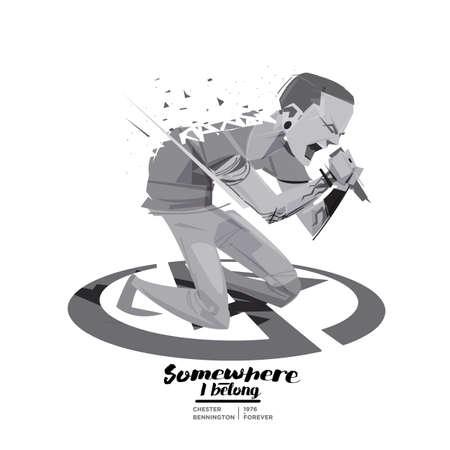 Chester Bennington. Vocalist of Linkin Park band. character design, USA Losangeles2018 - vector illustration