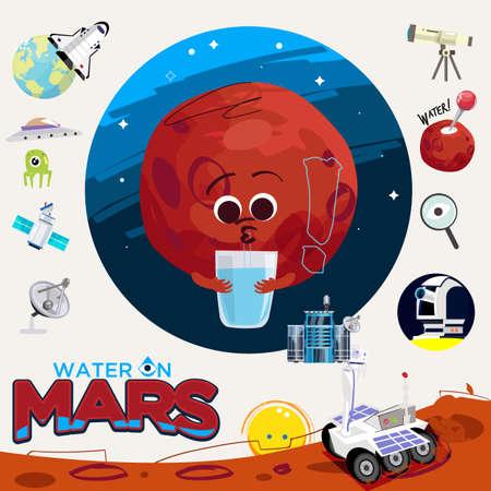 Agua o líquido en Marte. con elementos gráficos de exploración de Marte - ilustración vectorial Ilustración de vector