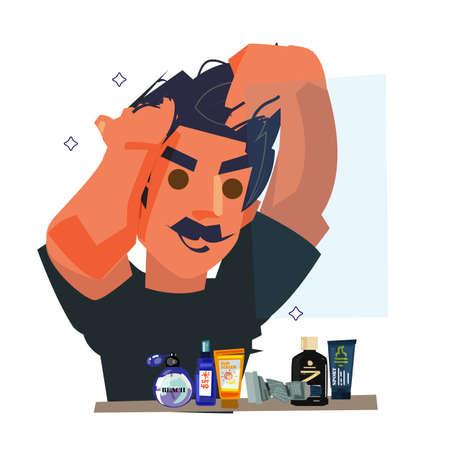 Hombre guapo arreglando el cabello. Concepto de aseo de los hombres - ilustración vectorial