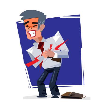 Mature Man - Heart Attack - vector illustration