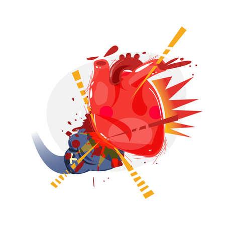 Boxer glove hitting to human heart. heart attack - vector illustration 일러스트