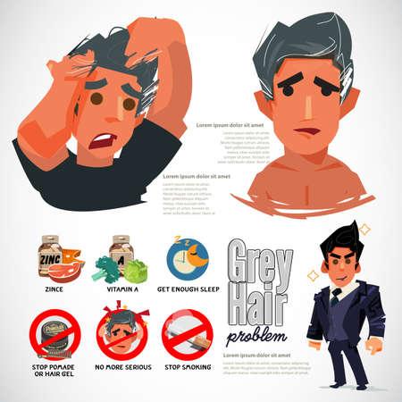Problème de cheveux gris. cause et moyen de l'empêcher - illustration vectorielle