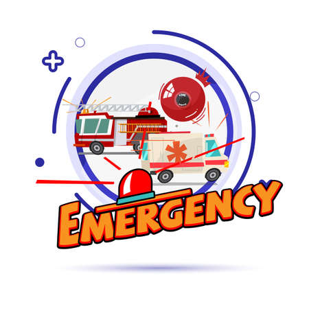 Emergency symbol concept. Fire car, ambulance with siren light - vector illustration