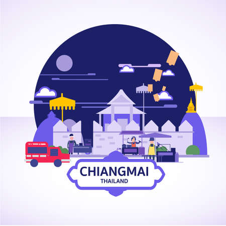 Chiangmai ladscape icon concept. chiangmai street food - vector illustration 矢量图像