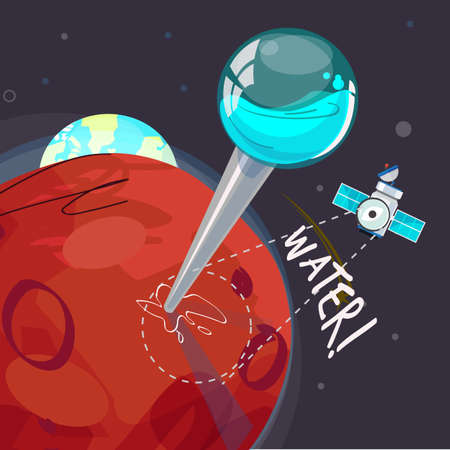 pin for water on Mars - vector illustration