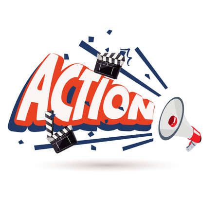 megaphone with action typographic - vector illustration Illustration