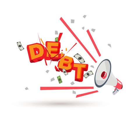 megaphone with debt . - vector illustration