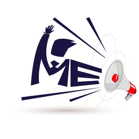 megaphone with me  - vector illustration