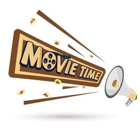 megaphone with movie time message - vector illustration 向量圖像