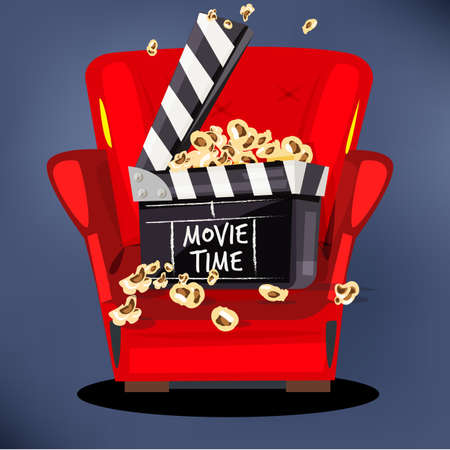 clapperboard with popcorn on movie sofa - vector illustration