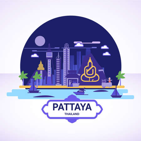Pattaya skyline icon with strret food cart - vector illustration