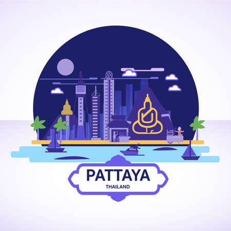Pattaya skyline icon with strret food cart - vector illustration