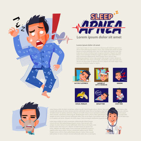sleep apnea infographic and how to treatment. insomnia discorder. sleep problem concept - vector illustration